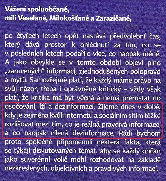 K editorialu Veselských listů
